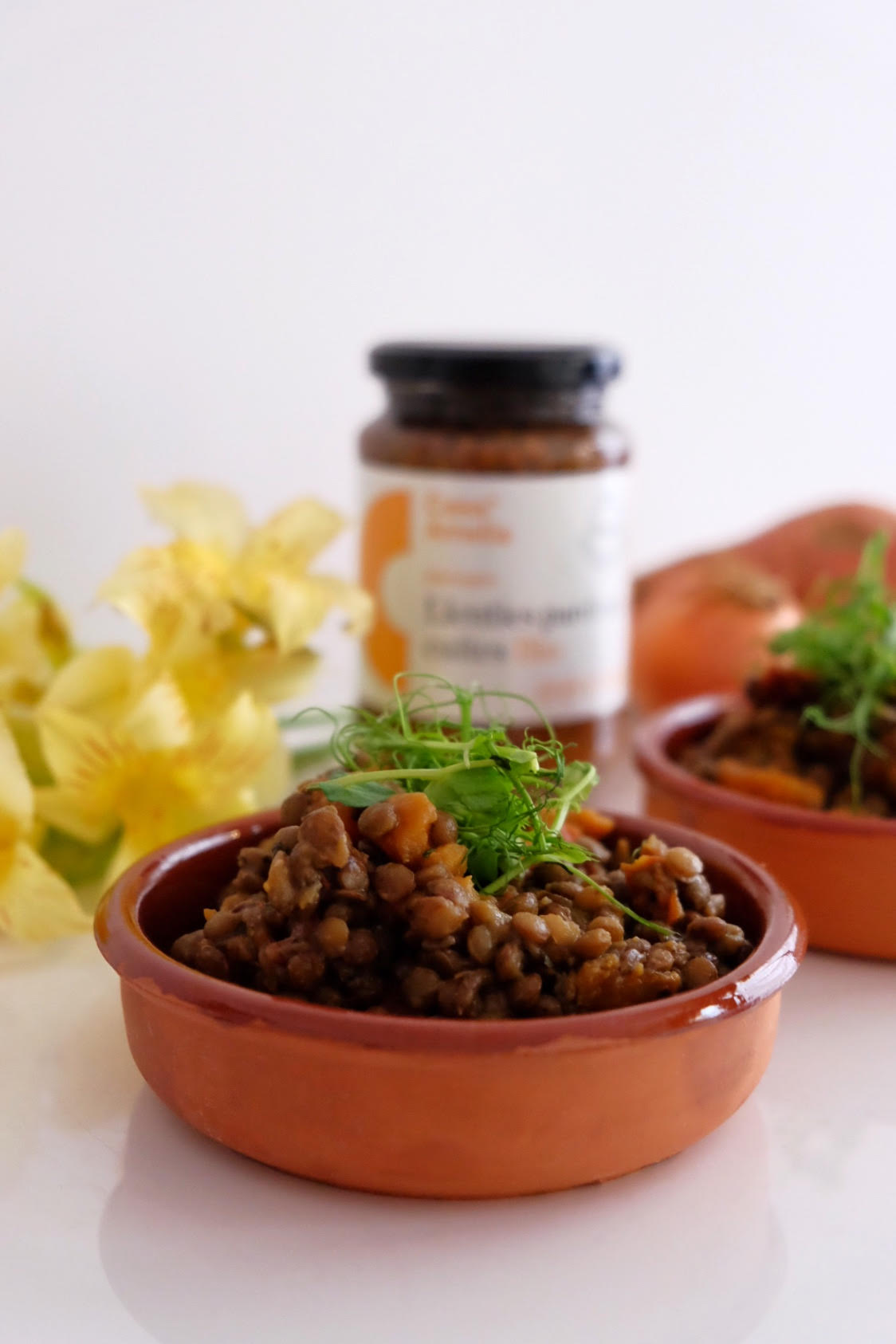 Llenties amb tomàquets secs, moniato i orenga