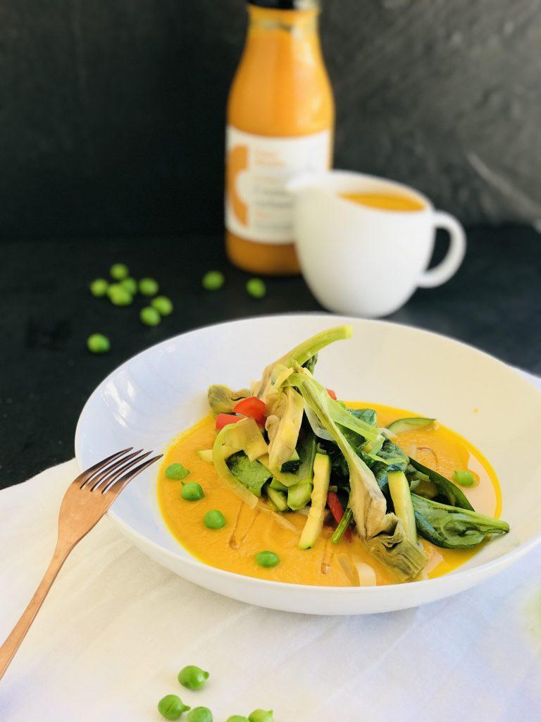 Saltejat de primavera amb sopa de carbassa